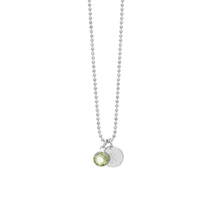 Initial Disc Birthstone Charm Necklace