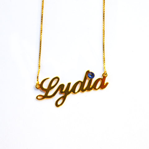 Lydia Birthstone Name Necklace