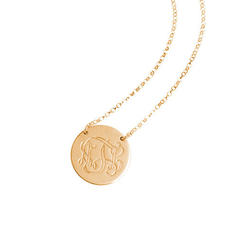 Monogram Initials Disc Necklace