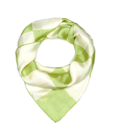 Green Checkerboard Silk Scarf