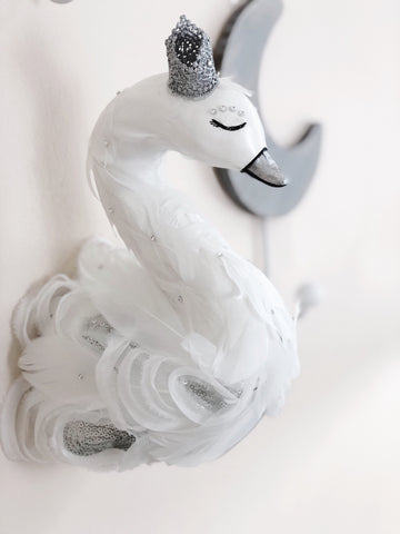 swan princess, swan nursery decor, swan gift, swan baby shower, swan party, swan wall mount, kids faux taxidermy, faux taxidermy swan, swan lake,