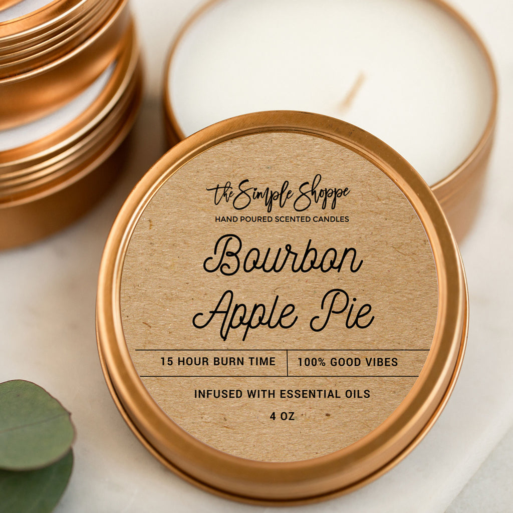 BOURBON APPLE PIE FALL SCENTED TRAVEL TIN