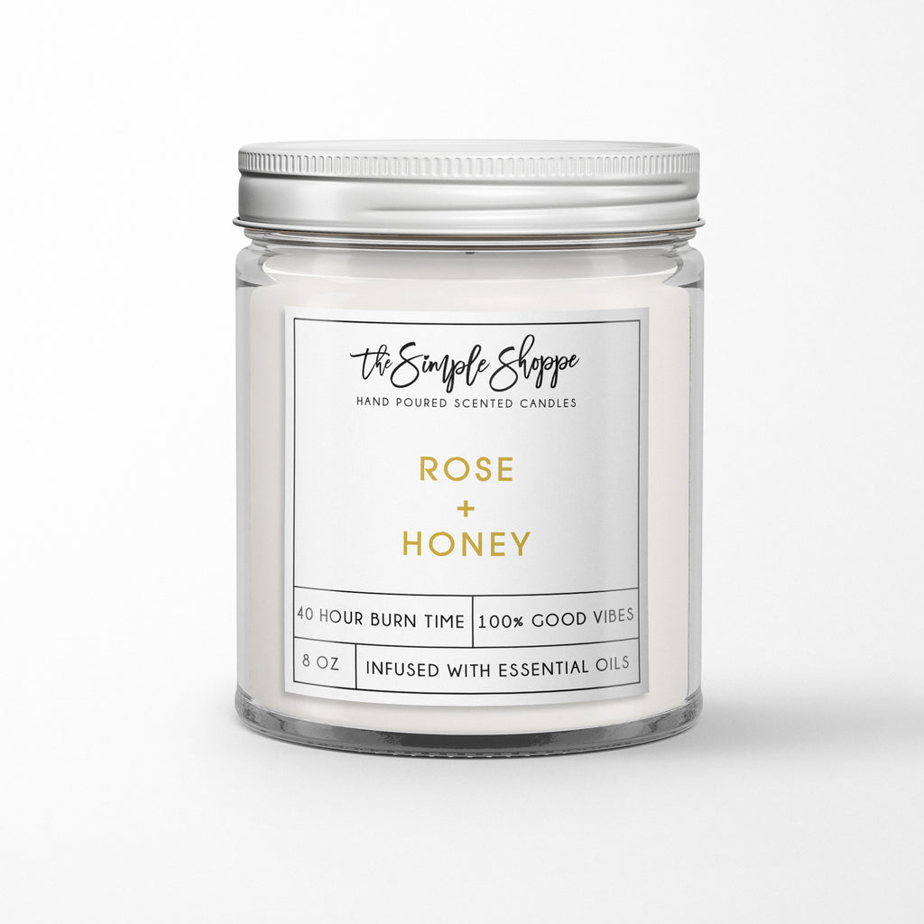 ROSE + HONEY SCENTED CANDLE