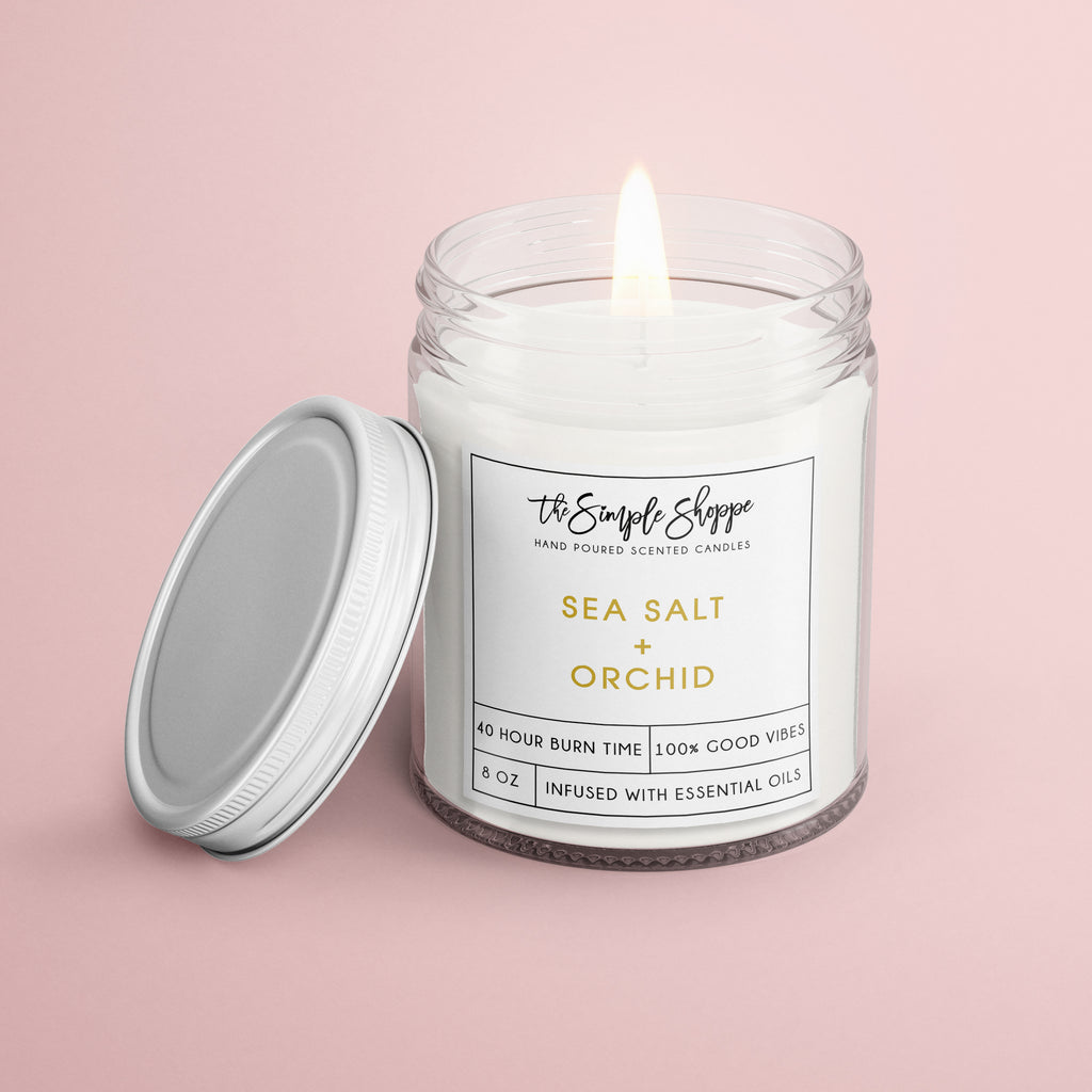 SEA SALT + ORCHID SCENTED CANDLE