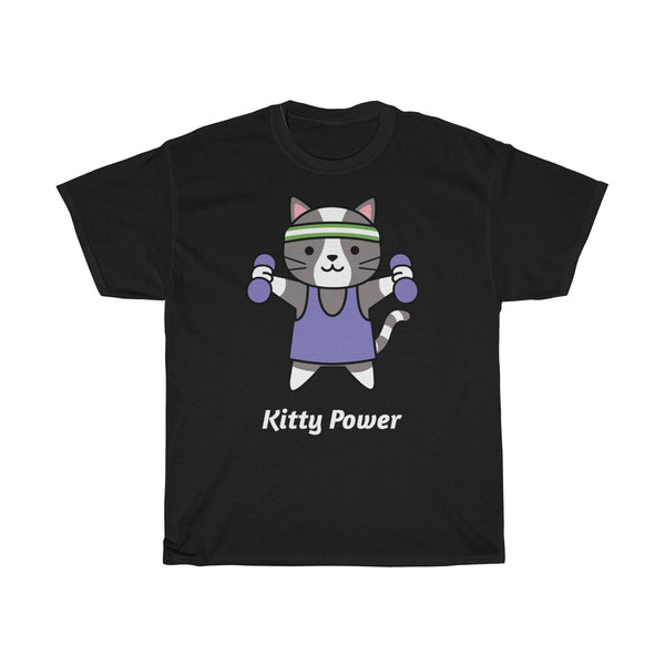 Kitty Power Exercise Fitness T-Shirt for Cat Lovers