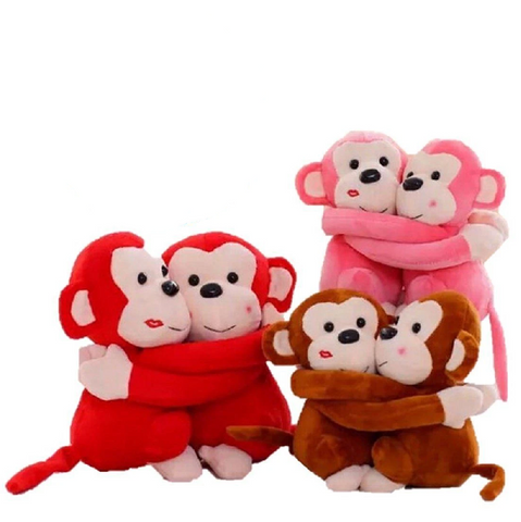 LightningStore Hugging Monkey Red Pink Brown Purple Green Doll Realistic Looking Stuffed Animal Plush Toys Plushie Children's Gifts Animals
