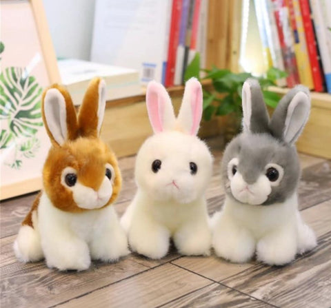 LightningStore Adorable Cute Brown and White Rabbit Bunny Stuffed Animal Doll Realistic Looking Plush Toys Plushie Children's Gifts Animals