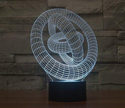 Baby Product - 3 Three Rings Hologram LED Night Light Lamp - Color Changing