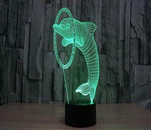 Baby Product - 3D Night Lights - Dolphin Hologram LED Night Light Lamp - Color Changing