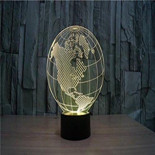 Baby Product - America Globe Map Hologram LED Night Light Lamp - Color Changing
