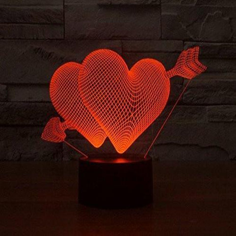 Baby Product - Hologram Lamp - Heart Love Hologram LED Night Light Lamp - Color Changing