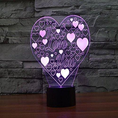 Baby Product - I Love You Heart Hologram LED Night Light Lamp - Color Changing