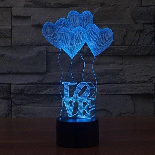 Baby Product - Love Heart Hologram LED Night Light Lamp - Color Changing