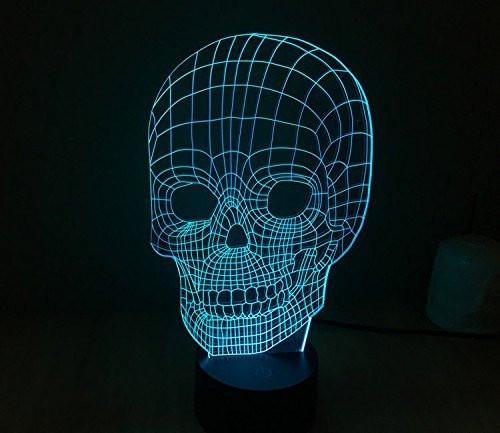 Baby Product - Skull Head Hologram LED Night Light Lamp - Color Changing