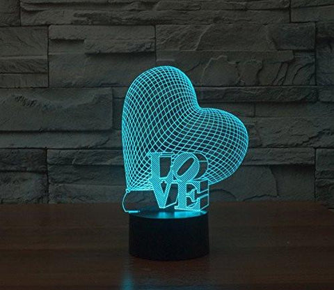 Baby Product - Slanted Love Heart Hologram LED Night Light Lamp - Color Changing