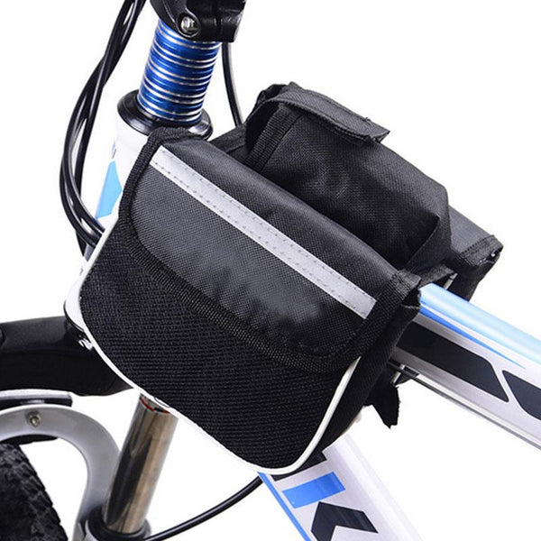 Biking - Bag - Mountain Bicycle Front Top Frame Tube Dual Bag Holder With Water Bottle Pouch