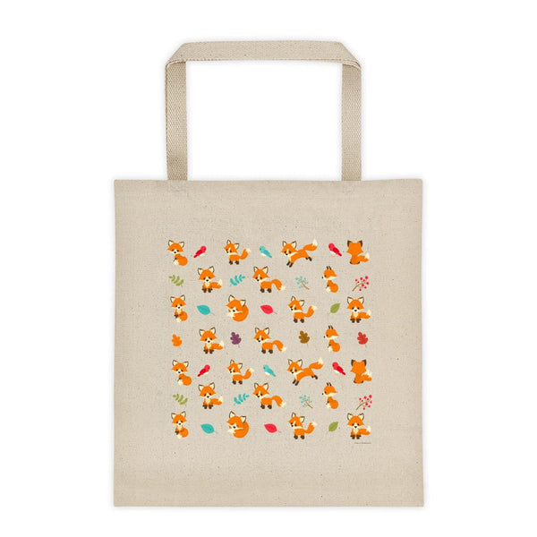 Cute Adorable Red Fox Pattern Cotton Tote Bag 12oz