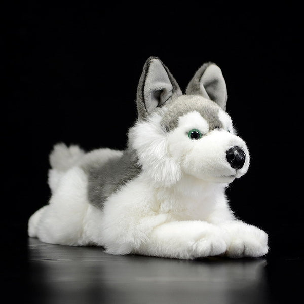 LightningStore Adorable Cute Sleeping Lying Open Mouth Siberian Husky Doll Realistic Looking Stuffed Animal Plush Toys Plushie Children's Gifts Animals