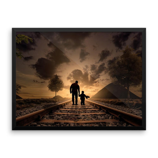 Father Son Railroad Track Framed Photo Poster Wall Art Decoration Decor For Bedroom Living Room
