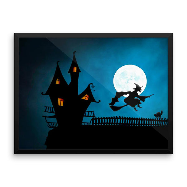 Flying Witch Framed Wall Art Decoration Decor For Bedroom Living Room