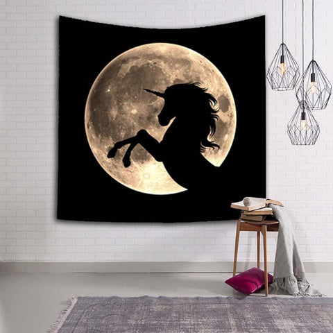 Full Moon Tapestry - Unicorn, Mantis, Wolf, Mermaid