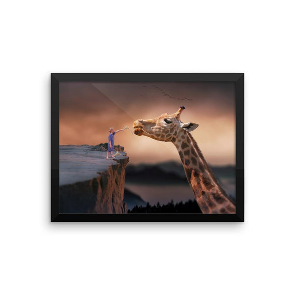 Giraffe Framed Photo Poster Wall Art Decoration Decor For Bedroom Living Room