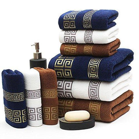Home - LightningStore 3 Pieces Bath And Face Towel Set - Chose Of Blue White Or Brown - Personalize Your House With This Elegant Towel Set