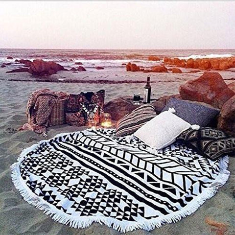 Home - LightningStore Big Giant Large 1500mm Round Beach Towel With Tassels - Fully Enjoy Your Trip To The Beach Without Worrying About Sand With This Cool Beach Towel Mat