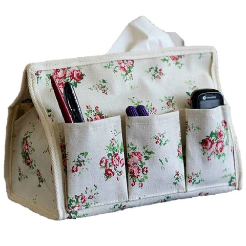 Home - LightningStore Cute Vintage Fashion Fabric Flower Makeup Bag Rectangular Rectangle Tissue Box Napkin Paper Towel Cover Holder Container Protector Case Outside Exterior Decoration Decor