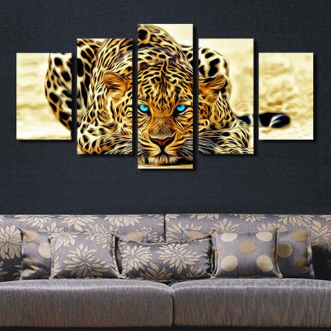 Home - LightningStore Leopard Picture Wall Decor Decoration - Combine 5 Pieces To Complete The Picture - An Excellent Addition To Any Home