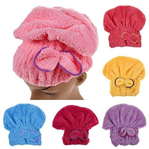 Home - LightningStore Microfiber Hair Cap Turban Towel For Women - Quickly Dry Your Hair By Wrapping This Towel Around Your Head - Available In Pink Yellow Purple Red Blue