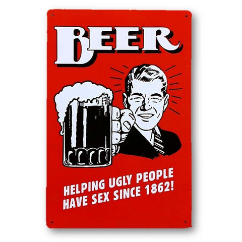 Home - LightningStore Vintage Beer Helping Ugly People Tin Sign - Excellent For Decorating Your Home And Cafe - Home Decor Suppliers