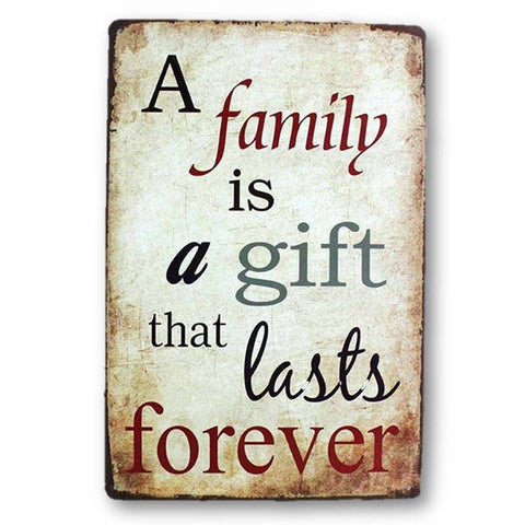 Home - LightningStore Vintage Metal A Family Is A Gift Sign Board - Excellent For Decorating Your Home Cafe Or Shop - Home Decor Suppliers