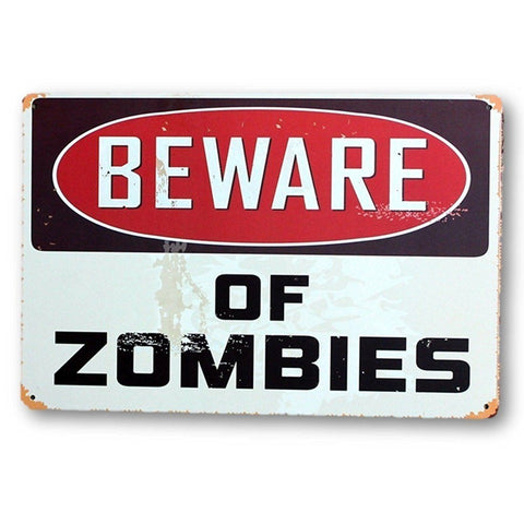 Home - LightningStore Vintage Metal Beware Of Zombies Sign Board - Excellent For Decorating Your Home Cafe Or Shop - Home Decor Suppliers