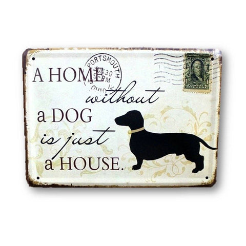 Home - LightningStore Vintage Metal Drink Cute Dog Home Sign Board - Excellent For Decorating Your Home Cafe Or Shop - Home Decor Suppliers
