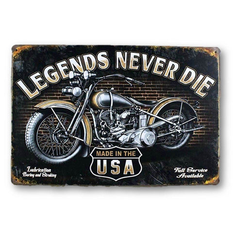 Home - LightningStore Vintage Metal Legends Never Die Motorcycle Sign Board - Excellent For Decorating Your Home Cafe Or Shop - Home Decor Suppliers