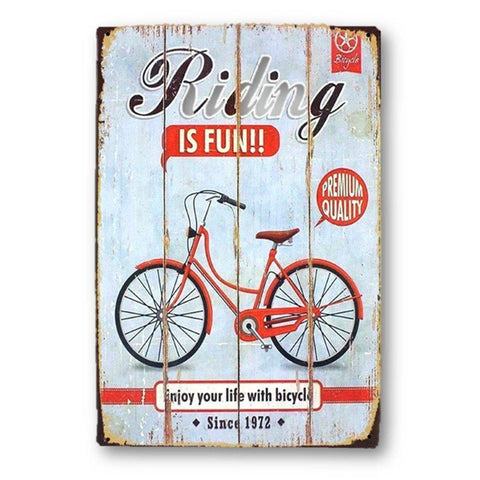 Home - LightningStore Vintage Metal Riding Is Fun Bicycle Sign Board - Excellent For Decorating Your Home Cafe Or Shop - Home Decor Suppliers