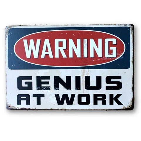 Home - LightningStore Vintage Warning Genius At Work Tin Sign - Excellent For Decorating Your Home And Cafe - Home Decor Suppliers