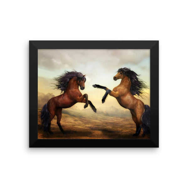 Horse Brothers Framed Photo Poster Wall Art Decoration Decor For Bedroom Living Room