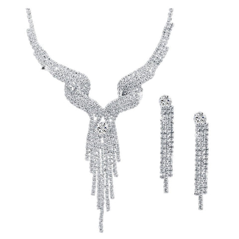 Jewelry - Lightningstore Austrian Crystal Bridal Jewelry Sets For Women Long Tassel Statement Necklace/earrings Set - Over 15 Designs To Choose From