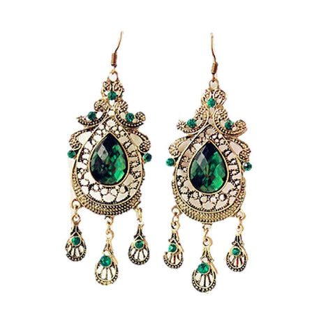 Jewelry - Lightningstore European And American Retro Style Palace Green Water Drop Earrings Exaggerated Female Long Section Of Large Earrings For Women