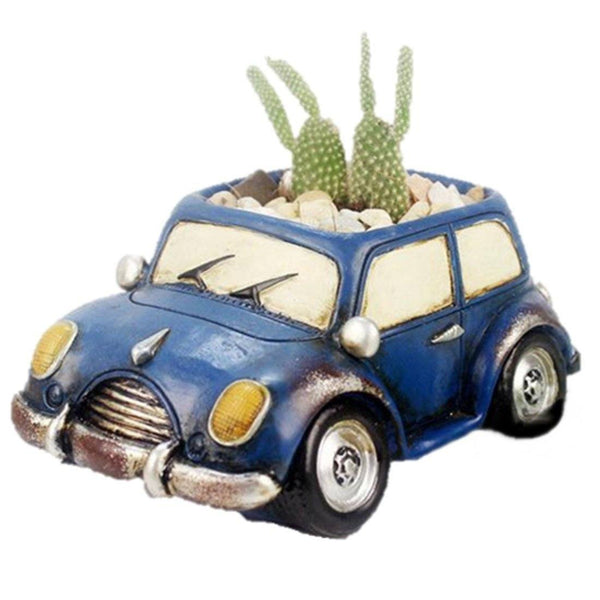 Lawn & Patio - LightningStore Blue Car Succulent Plants Pot Microlandschaft Personalized Office House Balcony Landscape Pot Creative Decorative Flower Pots