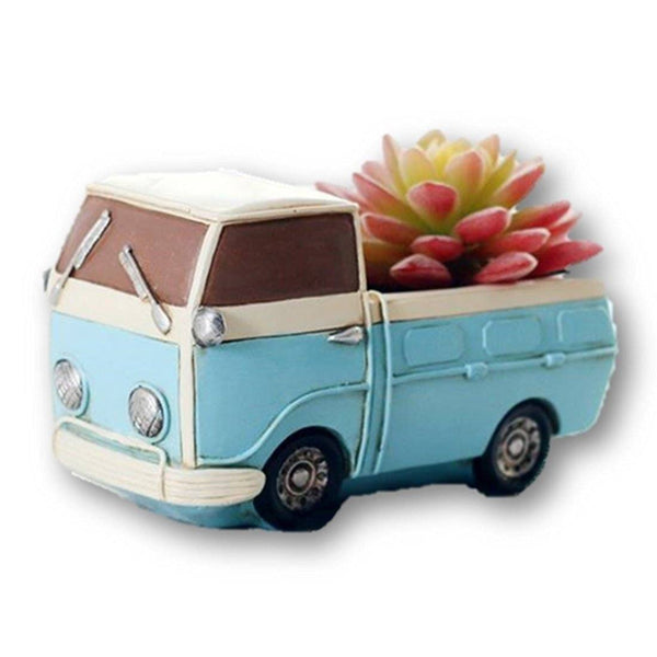 Lawn & Patio - LightningStore Blue Van Succulent Plants Pot Microlandschaft Personalized Office House Balcony Landscape Pot Creative Decorative Flower Pots