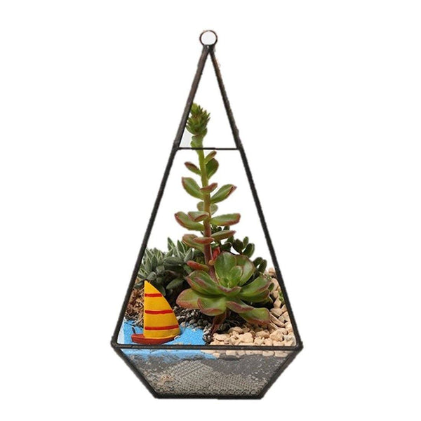 Lawn & Patio - LightningStore Bonsai Modern Glass Geometric Terrarium Pyramid Succulent Box Planter Flower Pot Eco Bottle Miniature Miero Landscape Vivaria Plants Pot