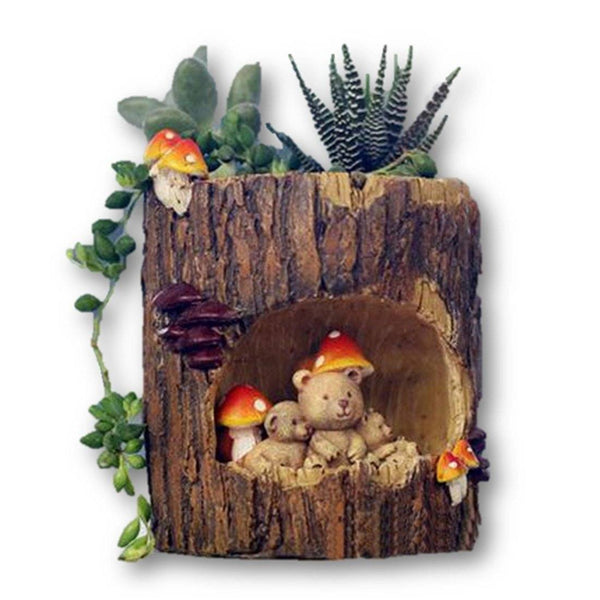 Lawn & Patio - LightningStore Brown Log Succulent Plants Pot Microlandschaft Personalized Office House Balcony Landscape Pot Creative Decorative Flower Pots