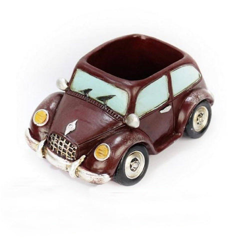 Lawn & Patio - LightningStore Chocolate Brown Car Succulent Plants Pot Microlandschaft Personalized Office House Balcony Landscape Pot Creative Decorative Flower Pots