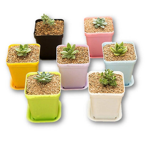 Lawn & Patio - LightningStore Colorful Pink Green Purple White Black Yellow Flower Pot With Chassis Succulent Plants Pot Microlandschaft Personalized Office House Balcony Landscape Pot Creative Decorative Flower