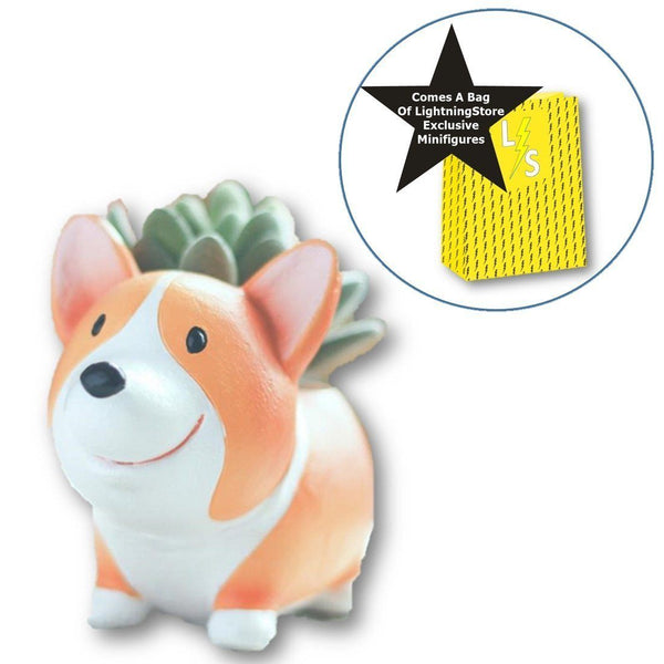 Lawn & Patio - LightningStore Corgi Dog Succulent Plants Pot Microlandschaft Personalized Office House Balcony Landscape Pot Creative Decorative Flower Pots + Mini-Figure Set Bundle