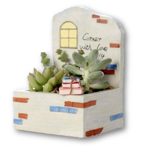 Lawn & Patio - LightningStore Corner With Love Window Succulent Plants Pot Microlandschaft Personalized Office House Balcony Landscape Pot Creative Decorative Flower Pots