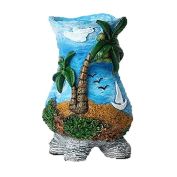 Lawn & Patio - LightningStore Cute Blue Ocean Palm Trees Succulent Plants Pot Microlandschaft Personalized Office House Balcony Landscape Pot Creative Decorative Flower Pots